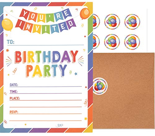Birthday Invitations with Envelopes and Stickers (25 pack)