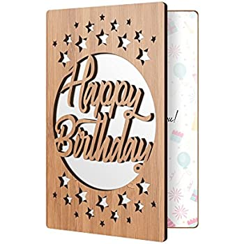 Happy Birthday Cards For Him Or Her Real Wood Greeting Card Adults Kids