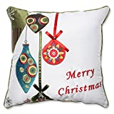 Pillow Perfect Merry Christmas Ornaments Throw Pillow, 16.5-Inch, Red/Green
