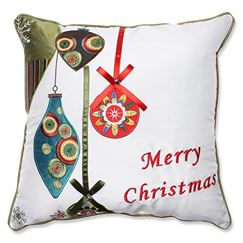 Pillow Perfect Merry Christmas Ornaments Throw Pillow, 16.5-Inch, Red Green