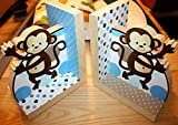 Blue and Brown Pop Monkey Boys Bookends Kids Bedroom Baby Nursery Wood Bookends BE0014