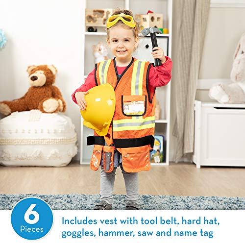 Melissa & Doug Construction Worker Role-Play Costume Set, Pretend Play, Fabrics, Machine-Washable, 17.5 H x 24 W x 1.75 L