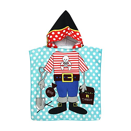 - E7accessories E7 Kids Towel Pirate For Boys - Poncho With Hoodie - Bathrobe Ages 2 to 9 - Pool/Bath/Shower/Beach - Microfiber - Pirate Pattern Theme