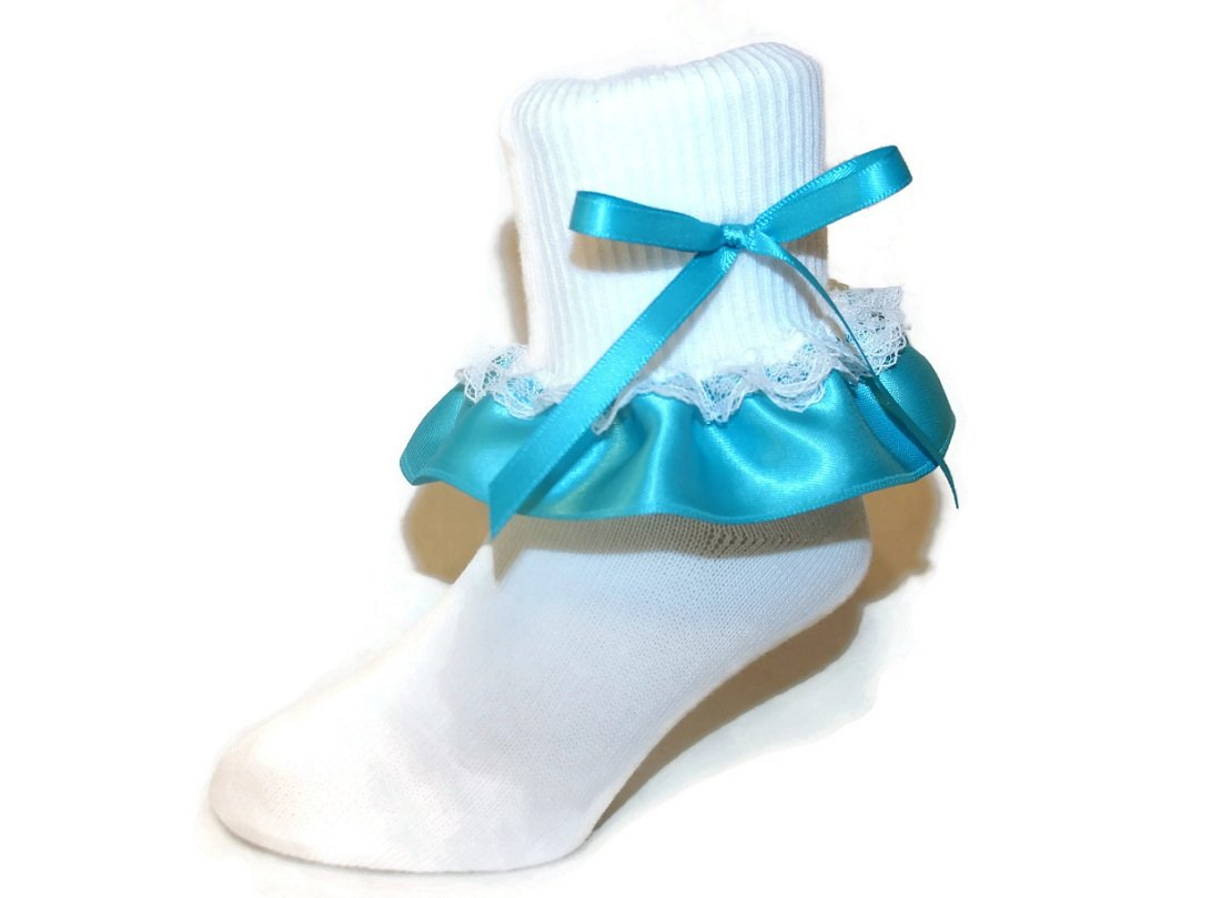 Ruffle Ankle Socks Satin & Lace Bow Assorted Colors for Baby to Girls (9-11 Girls, Turquoise)