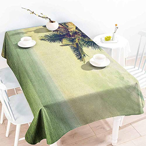 EwaskyOnline Spill-Proof Table Cover,Hawaiian Palm Tree Rocky Shore Caribbean Mist Traveling Resort Scenic,Table Cover for Kitchen Dinning Tabletop Decoratio,W60x120L, Almond Green Pale Yellow Brown -