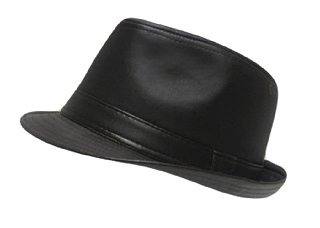 5a5a5f69b18 Mens Faux Leather Plain Trilby Fedora Hat in Brown