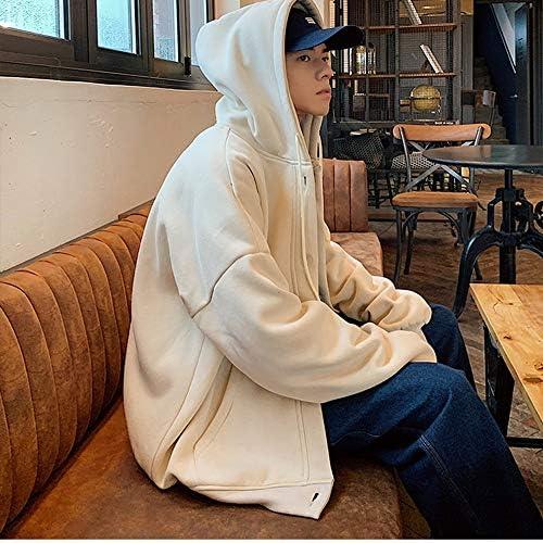 zhangmeiren Männer Kapuzenpullover Lose Beiläufige Neue Wintermode Große Yards Studenten Ins Knopfwolljacke Jacke (Color : Beige, Size : XXX-Large)