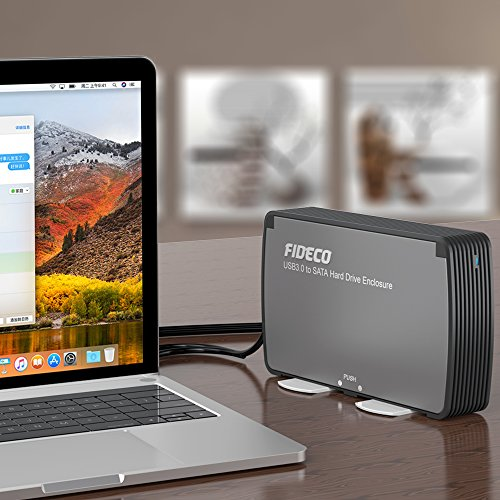 FIDECO 3.5'' Hard Drive Enclosure, USB 3.0 to SATA Aluminium External Hard HDD Case with Built-in Cooling Fan Support UASP and 10TB Drives for 3.5/2.5 Inch HDD SSD Tool-Free (3.5 Hard Drive Enclosure) by FIDECO (Image #6)