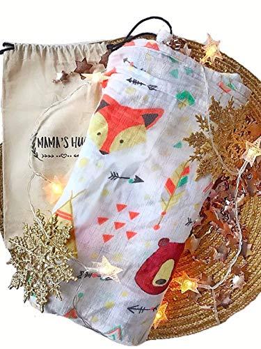 Bear Hugs Nursery (Mama's Hug Swaddle Blanket 100% Muslin Cotton, Newborn Must Have, Best, Soft and Oversized, Multipuprose Cloth, Woodland Fox and Bear)