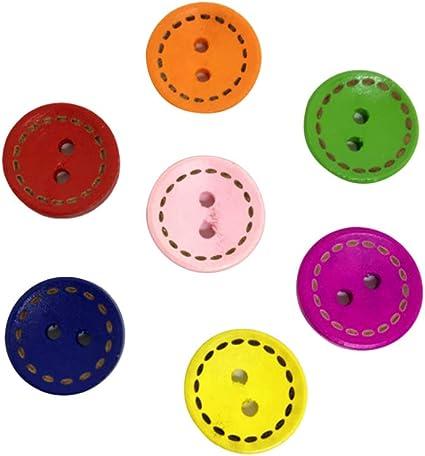 Supvox 100 Piezas de Botones de Madera Redondos con 2 ...