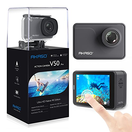 AKASO V50 Pro Native 4K/30fps 20MP WiFi Action Camera with EIS Touch Screen Adjustable View Angle 30m Waterproof Camera Support External Mic Remote Control Sports Camera with Helmet Accessories Kit ()