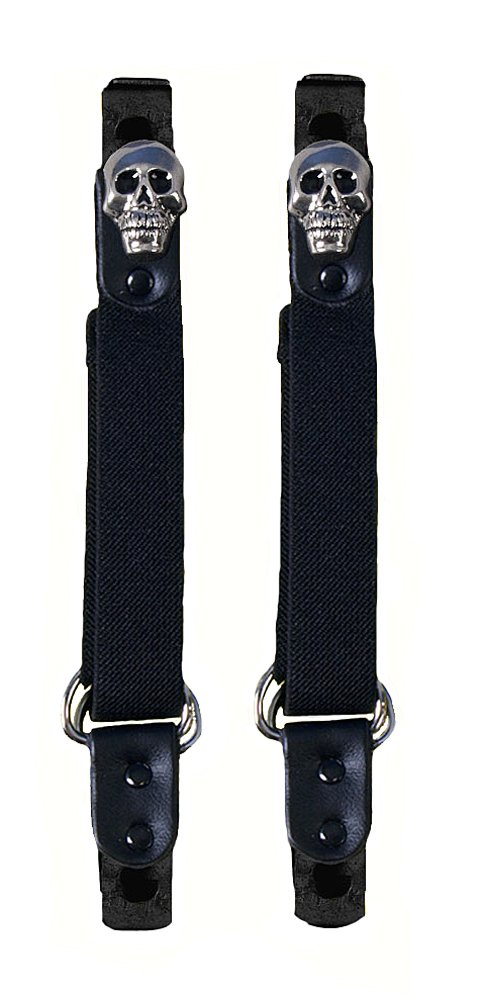 Hot Leathers Skull Motorcycle Pant Clip Boot Bungee Riding Straps