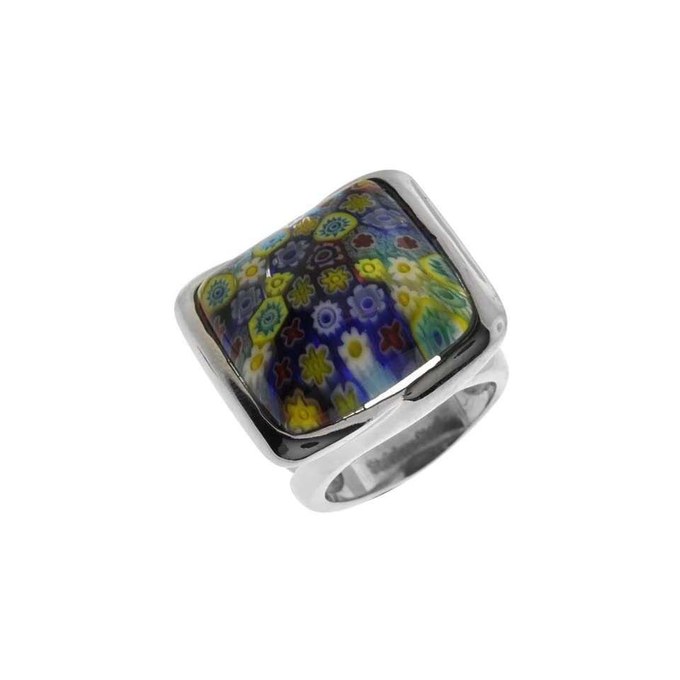 Size 7   Inox Jewelry Womens Murano Glass Square 316L Stainless Steel Ring