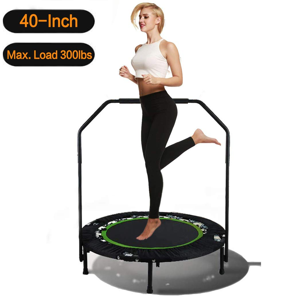 Hosmat 40 Inch Mini Exercise Trampoline for Adults or Kids - Indoor Fitness Rebounder Trampoline with Adjustable Handle Bar | Max. Load 300LBS (Green)