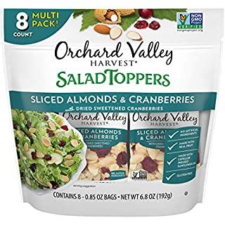 ORCHARD VALLEY HARVEST Salad Toppers, Sliced Almonds & Cranberries, 0.85 oz (Pack of 8), Non-GMO, No Artificial Ingredients