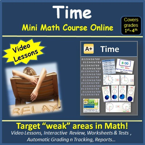 Learn about Time, Video Math Tutor (covers 1st to 4th grade) - Mini Math Course Online 1 Year - Video Lessons, Worksheets & Tests