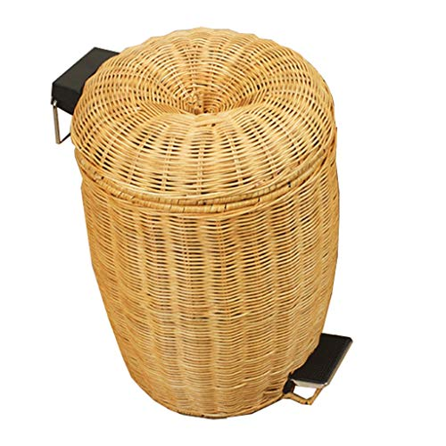 ZHPRZD Trash Cans Trash Can Home Living Room Bedroom Bathroom Rattan Pedestal Trash Can (Color : Yellow, Size : ()