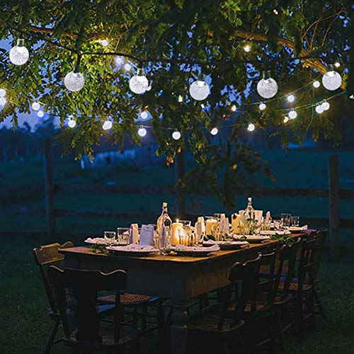 Lalapao Solar Powered Globe String Lights 30LED 19.7ft Crystal Ball 8 Modes Christmas Fairy Lights Waterproof Outdoor Lighting for Xmas Tree Patio Lawn Garden Home Holiday Wedding Party Decor (White) from Lalapao