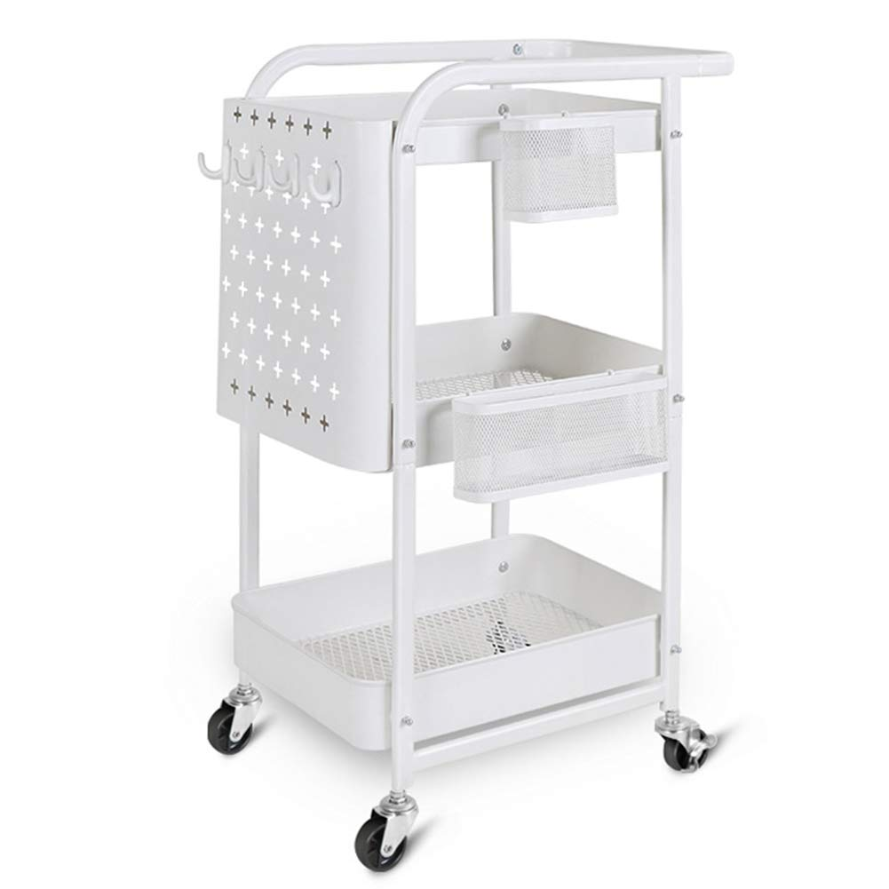 Multi-Function Rack, 3-Layer Push-Pull armrests and Mute Caster Home Utility Basket Rack, Kitchen Living Room Bathroom 17.7212.8029.92in (White) by Kitchen shelf