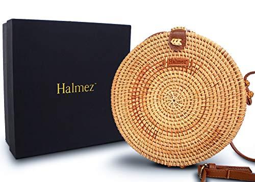Halmez PREMIUM Rattan Bag for Women Round Handwoven Straw Bag Leather Crossbody Shoulder Strap Handbag Dream Fashion, Brown