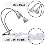 Rozway Dual Head LED Grow Lamp Premium 10W Desk Clip LED Plant Lamp W/ 360 Swivel Flexible Gooseneck - Best Energy Saving LED Grow Light For Indoor Plants, Hydroponic Garden, Greenhouse, Home, Office