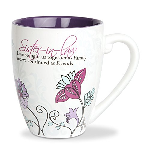 Pavilion Gift Company Mark My Words Sister In Law Floral Butterfly Coffee Tea Mug, Large, Purple (Floral Ideas Christmas)