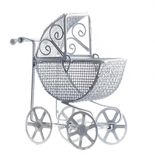 (Parlor-esque Miniature White Antique Baby Carriage for Baby Shower Favors, Fairy Gardens, and Embellishing)