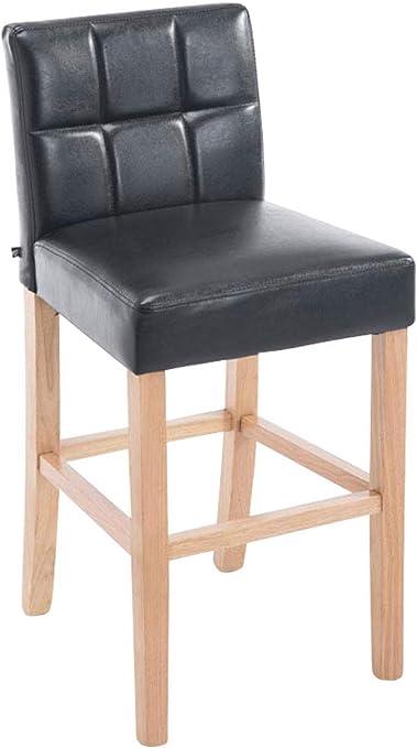 CLP Tabouret de Bar Raphael Similicuir I Tabouret de Bar avec Dossier et Assise Rembourrés I Chaise de Bar Pieds en Bois Repose Pied Couleur: Marron,