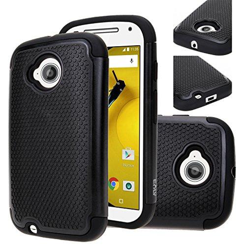 Moto E (2nd GEN.) Case, Motorola E (2nd GEN.) case, E LV Motorola Moto E / E2 ( SECOND GENERATION) (2015) Case, Full Body Hybrid Armor Protection Defender Case Cover - Dual Layer Armor Protective Case Cover for Motorola Moto E - BLACK