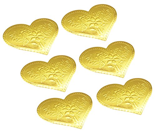 Envelopes Label Stickers Love Heart Shape Stickers 60 PCS Kraft Paper Thank You Stickers Retro Metallic DIY Decorative Adhesive Label for Packaging Bake Decoration Wedding Party Gift (Gold)