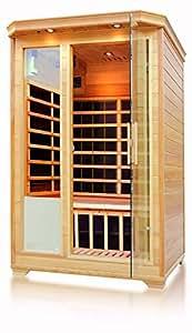 Empava 2-3 Person Far Infrared Sauna 8 Carbon Fiber Heaters Canadian Hemlock Wood Dry Sauna Room EMPV-SR-H2