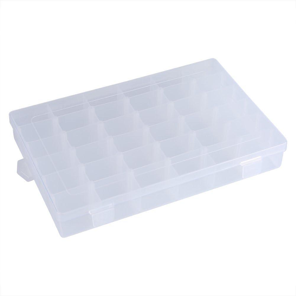 Contenedor de cuentas transparentes, 36 ranuras divisores ajustables, rejilla de plástico transparente para tableta, pastillero, joyero, Organizador de almacenamiento para clasificar