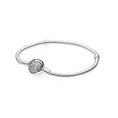6b95d8e2ad4b8f Amazon.com: Pandora Moments Silver Bracelet with Sparkling Heart Clasp  590743CZ19: Watches