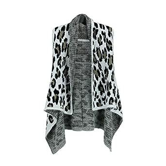 Love of Fashion Women's Fuzzy Leopard Print Pattern Vest, Black