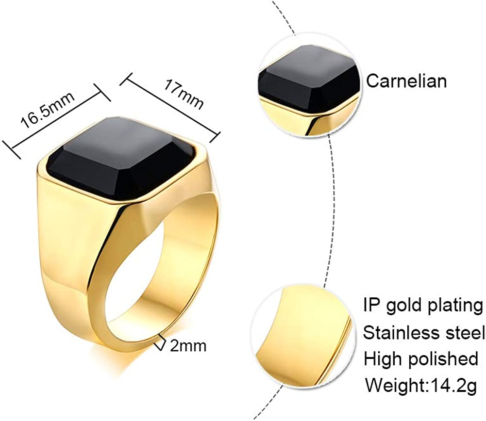 VNOX Jewellery Fashion Stainless Steel Black Agate Wedding Engagement Promise Ring for Mens Womens,Size N 1//2-X 1//2