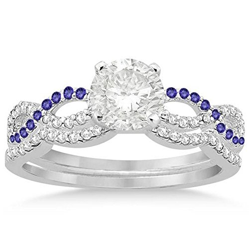 Infinity Twist Diamond and Tanzanite Engagement Ring and Diamond Contour Wedding Band Platinum (0.34ct) -