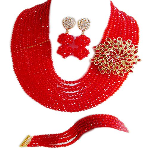 Champagne Colored Costume Jewelry (Nigerian Wedding African 10Rows Red Beads Bridal Jewelry Sets LCF060)