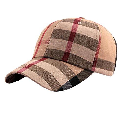 - ACVIP Men Women Plaid Summer Outdoor Baseball Cap Headband (Khaki)