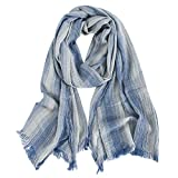 GERINLY Cotton-Linen Scarves Mens Stripe Crinkle Long Scarf (Denim Blue)