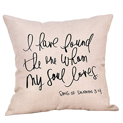 (Seaintheson Throw Pillowcases Linen Pillowcase 18 X 18 Inch Simple Fashion Pillowcases Phrase Pillowcase Cafe Sofa Cushion Cover Home Decor)