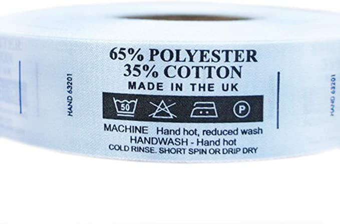 pkg 100 Machine Wash 65/% Polyester 35/% Cotton Care Sew In Labels Tags 12
