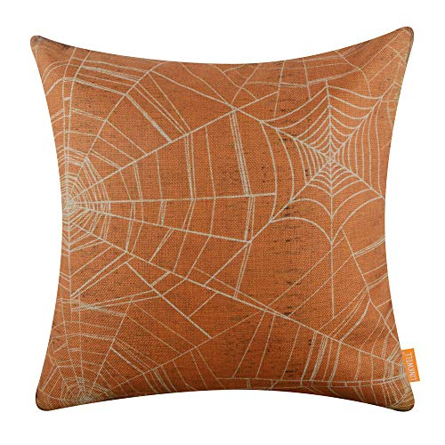 LINKWELL 18x18 inches Vintage Orange Spider Web Happy Halloween Spider Web Season Seasonal Gifts Burlap Throw Pillow Cover Decorative Cushion Cover CC1538]()
