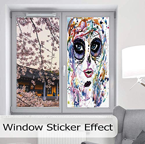 YOLIYANA Static Cling Decorative Window Film,Sugar Skull Decor,Suitable for Kitchen, Bedroom, Living Room,Halloween Girl with Sugar Skull Makeup Watercolor -