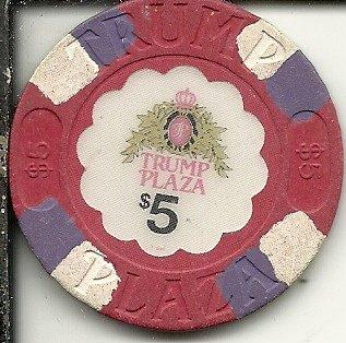($5 trump plaza purple stripes atlantic city new jersey casino chip obsolete)