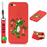 Cute Cool Phone Case for iPhone 5/ 5s/ SE, SKYXD Dinosaur Cartoon Animal Silicone Soft Thin TPU Bumper Protective Case with Lovely Hand Wrist Strap Bracelet + Glass Screen Protector Cover