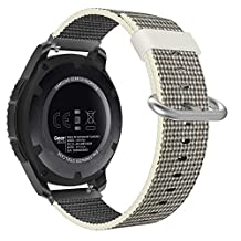 Universal 22mm Quick Release Watch Band, Moko Nylon Band Replacement Strap for Amazfit/Samsung Gear S3 Frontier/S3 Classic/Motorola Moto 360 2nd Gen 46mm/Huawei 2 Classic, Pearl White