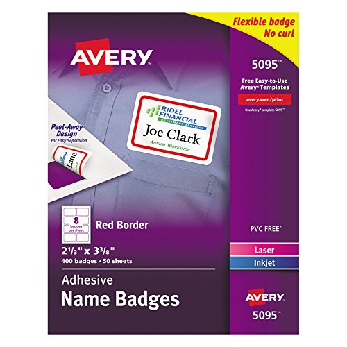 Avery White Adhesive Name Badges with Red Border, 2-1/3 x 3-3/8, Box of 400 (5095)