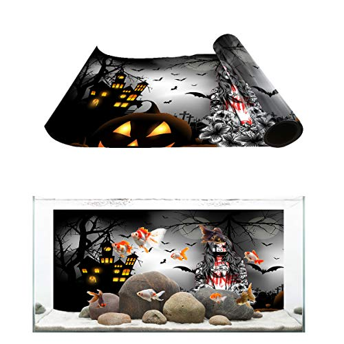 T&H Home Aquarium Décor Backgrounds - Halloween Horror Castle Ghost Girl Pumpkin Bat Graveyard Moon Night Fish Tank Background Aquarium Sticker Wallpaper Decoration PVC Adhesive Poster,48.8