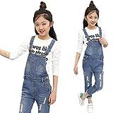 Digirlsor Kids Adjustable Strap Blue Ripped Long Jeans Girls Suspender Denim Bib Overalls Romper Jumpsuit