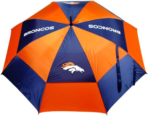"""Team Golf NFL 62"""" Golf Umbrella with Protective Sheath, Double Canopy Wind Protection Design, Auto Open Button, Denver Broncos"""